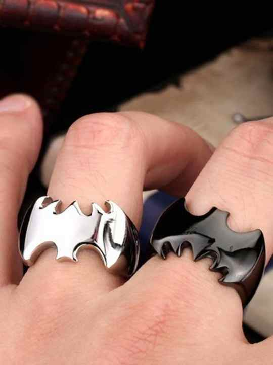 Vamers Store - Jewellery - Stainless Steel Batman Ring - VS-JWL-RING-BSS - Silver and Black on Hand