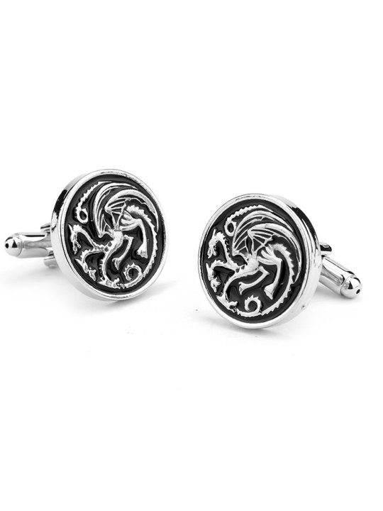 Vamers Store - Merchandise - Geek Chic - Accessories - Cufflinks - House Targaryen Cufflinks inspired by Game of Thrones - Enamel and Silver - 02