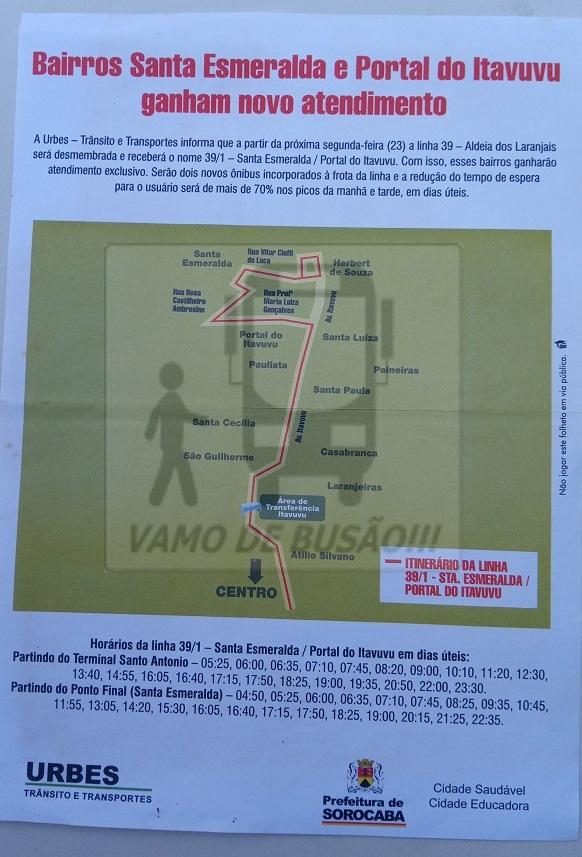 Linha 39 1 Santa Esmeralda - Linha 39/1 - Santa Esmeralda (Cidade de Sorocaba)