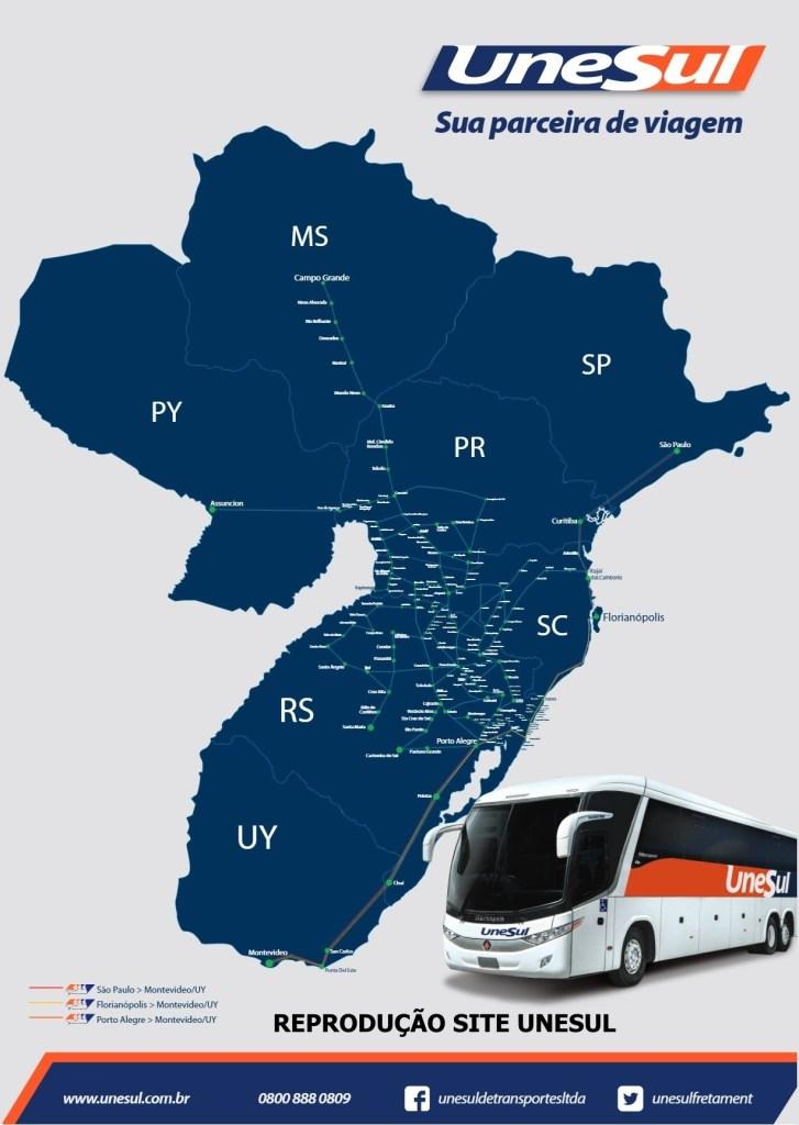 UNISUL E UNILESTE 2019 727x1024 - Ônibus do Brasil para Paraguai – Saiba mais sobre esta ligação rodoviária internacional