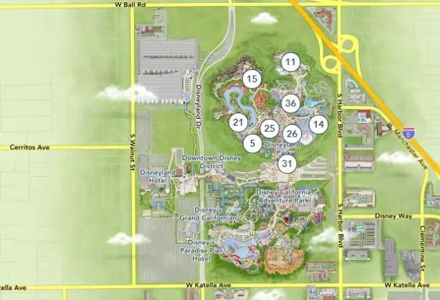 Mapa del DIsneyland Resort - Visitar por primera vez