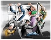 ônibus freando . primeira lei de Newton.