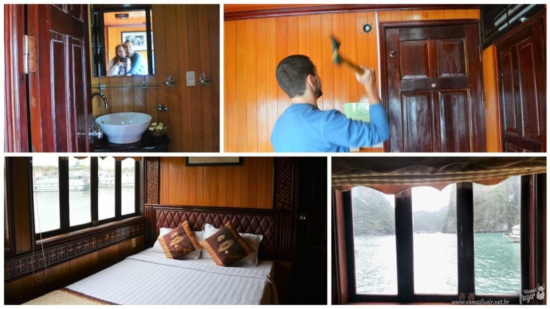 Quarto do cruzeiro por Halong Bay, Vietnã