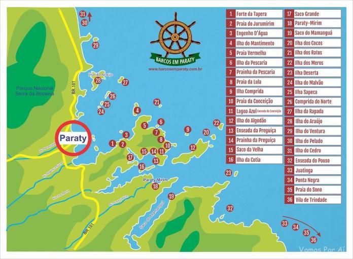 Mapa Barcos em Paraty