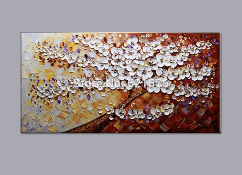 Big Size Modern Hand Painted Flower Canvas Oil Painting