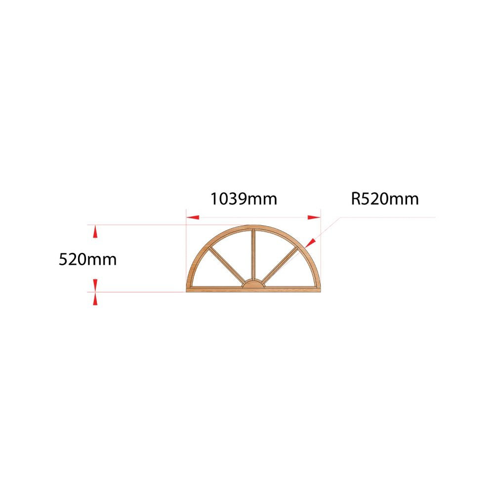 Van Acht Wood Fixed Arches for Windows Product H1040 SUNRAY