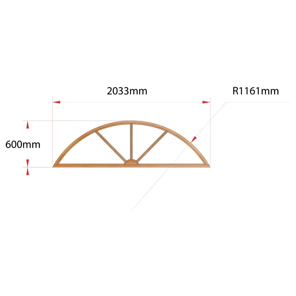 Van Acht Wood Fixed Arches for Windows Product H2036 SUNRAY