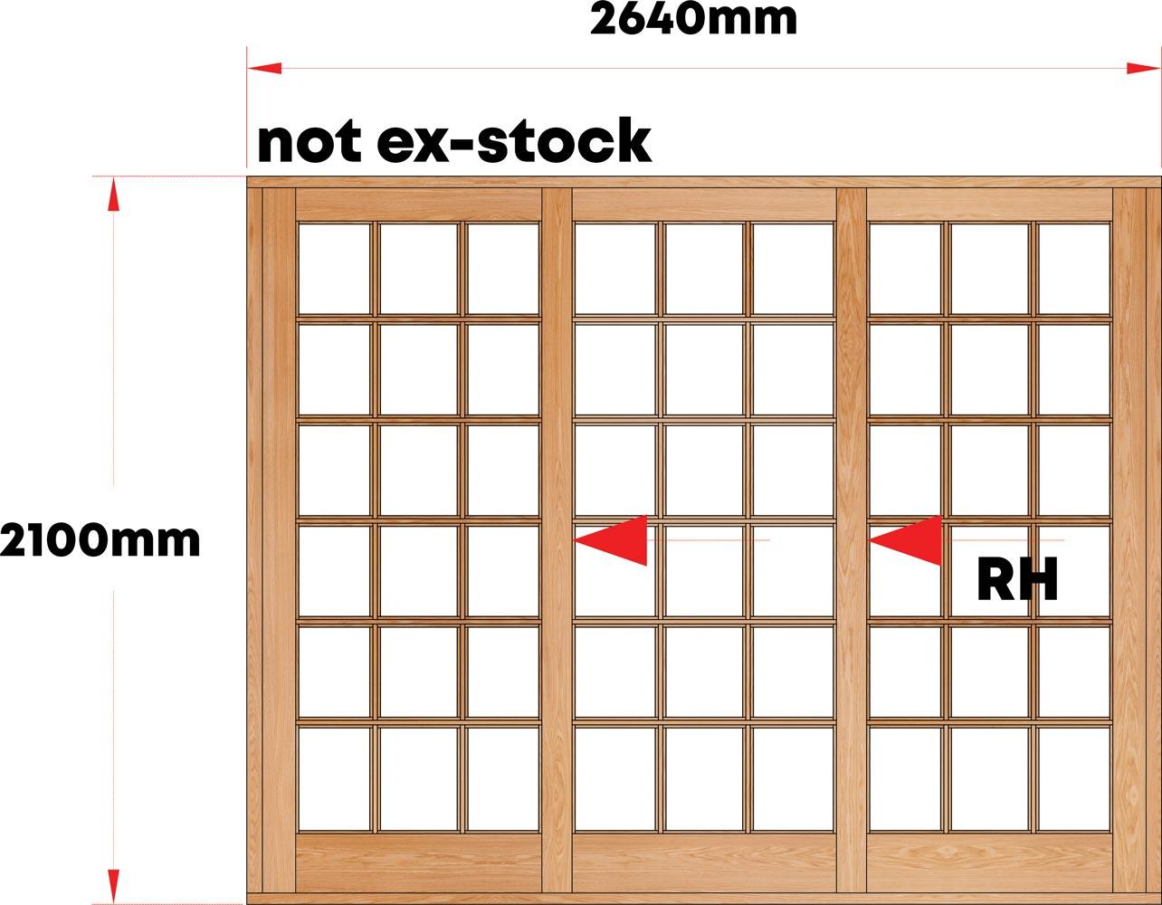 Van Acht Wood Sliding Doors Small Pane Model VSD2.6SPTS