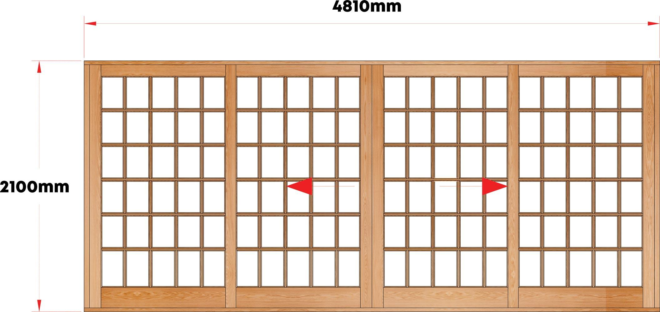 Van Acht Wood Sliding Doors Small Pane Model VSD4.8SPCO