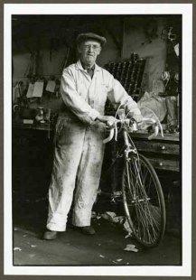 "VPL 88617 ""Man with bicycle in workshop"" Nina Raginsky. 1972."