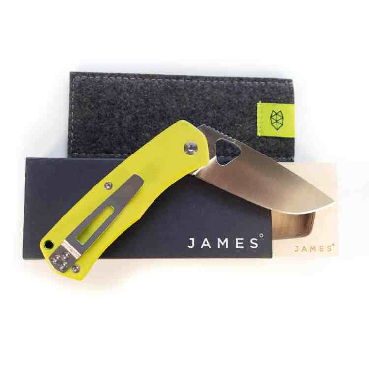 The James Brand Folsom, electric moss + satin Taschenmesser