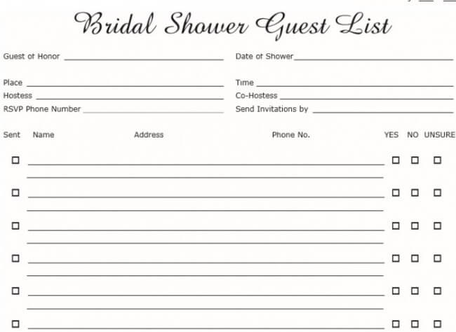 excel wedding guest list template