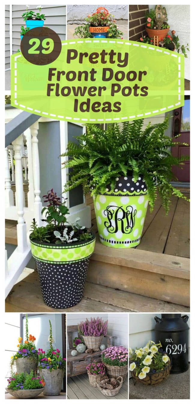 what color flower pot for blue front door