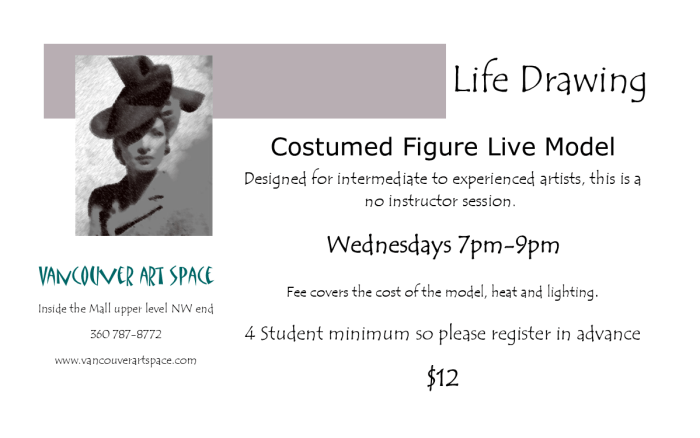 costume life drawing half card flyer
