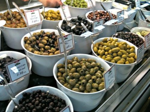 Vancouver Foodie Tour Wonderful olive choices at Zara's