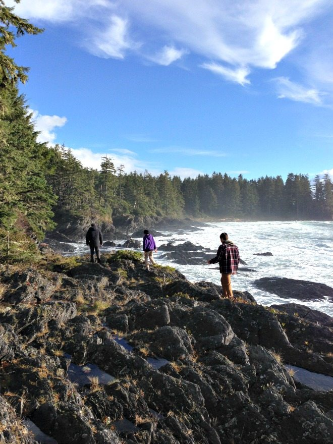 Walking the cliffs above Botanical Beach,