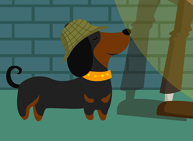 Dog Crime-Solving Illustration