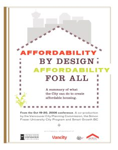 Cover of Affordability by Design, Affordability for All report, 2006