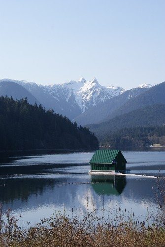Capilano Lake in Capilano River Regional Park near the Cleveland Dam in North Vancouver
