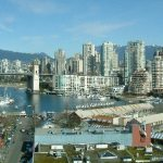 View of Granville Island and Vancouver from the Granville Island Bridge
