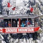Close-up of a packed Grouse Gondola in winter