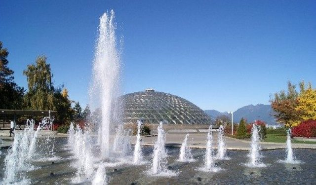 Queen Elizabeth Park and the fountains by the Bloedel Conservatory