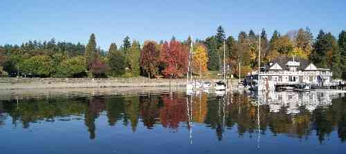 Stanley Park with red autumn leaves on the trees by the seawall