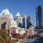 View of Robson Street, Vancouver Art Gallery and Hotel Vancouver