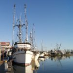 Fishing boat tied up at Steveston Village in Richmond