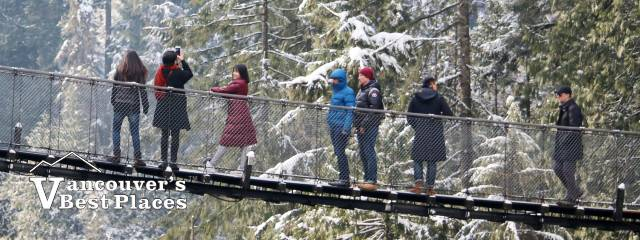 Capilano Bridge Visitors in Winter