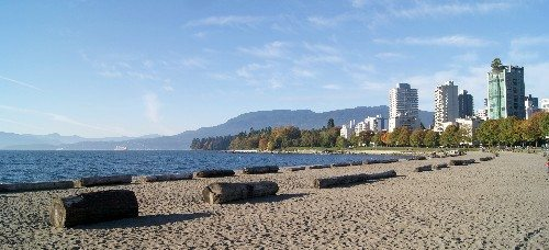 Rows of logs in the sand at Third Beach at Stanley Park