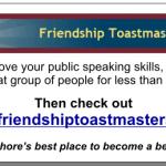 Friendship Toastmasters Advertisement