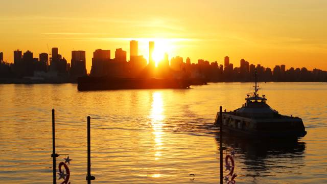 Vancouver Sunset View from Lonsdale Quay