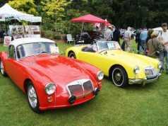 Orange and Yellow Classic Cars Display