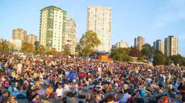 Packed Crowd at English Bay