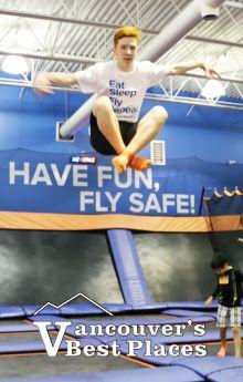 Boy Flying at Sky Zone