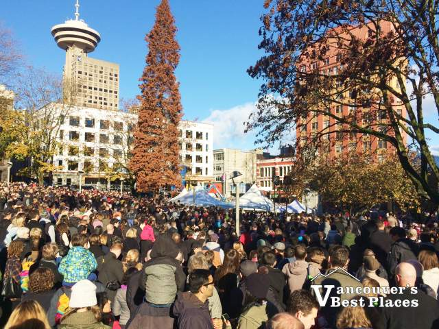 Victory Square Remembrance Day Crowds