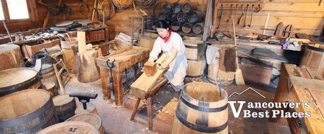 Barrel-Making Demonstration in the Cooperage