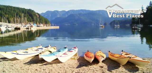 Kayaks at Deep Cove