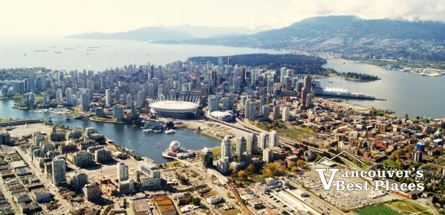 Vancouver Ocean and Mountains Aerial View