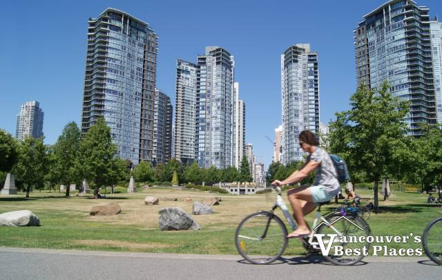 Cycling the False Creek Seawall in Yaletown