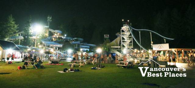 Cultus Lake Water Slides at Night