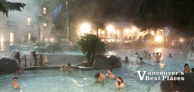 Harrison Hot Springs Pools at Night