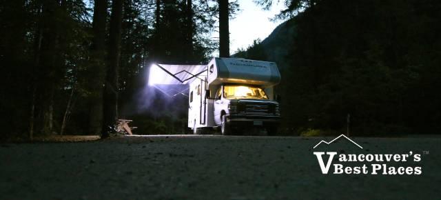 Motorhome Camping at Night