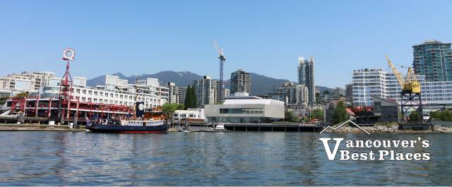 North Vancouver with snow-capped North Shore Mountains in the background