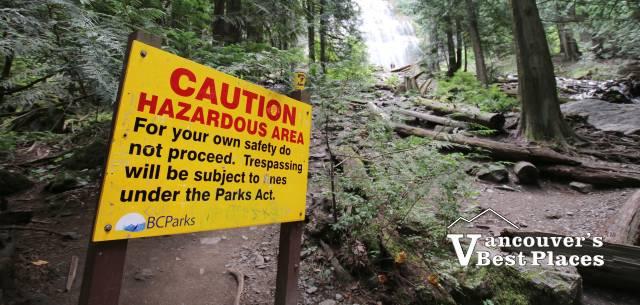 Warning Sign at Bridal Veil Waterfalls