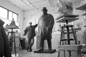 Geemon Xin Meng in his studio, Vancouver Sculpture Studio