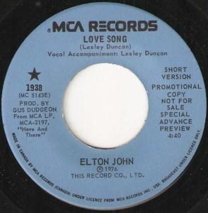 Elton John - Love Song (Short Version) 45 (MCA Promo Canada).JPG