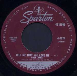 Tell Me That You Love Me by Paul Anka