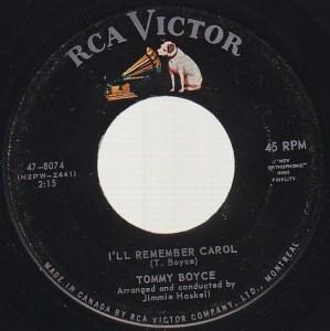 Tommy Boyce - I Remember Carol 45 (RCA Victor Canada)